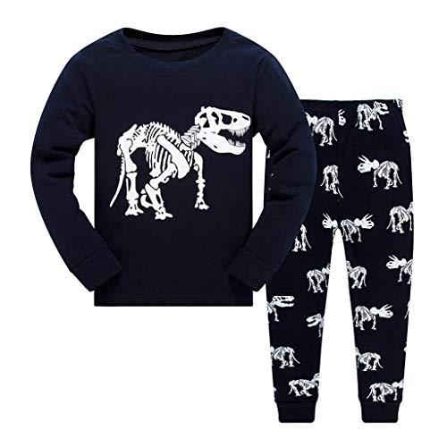 WHSHINE Mädchen Schlafanzug Langarm Kinder Nachtwäsche Pyjama Sets Baumwolle Kleinkind Nachtwäsche T Shirt+Hosen Pullover Oberseiten Ausstattungs Casual Hausdienst(Dunkelblau,2T)