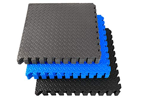 Fitem Dalles en Mousse EVA Premium & Environnemental - Tapis Puzzle - Protection de Sol - Sport - Piscine - Crossfit - Musculation - Gym - Jardin - Intérieur - Extérieur - 60 x 60 x 1 cm (Bleu-6pc)