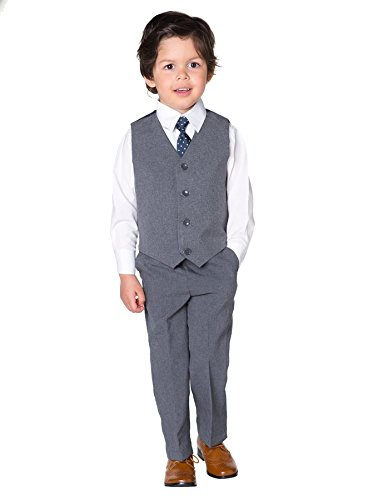Shiny Penny Boys Grey Suit, Boys Waistcoat Suit, Page Boy Suits, 3-6 Months - 8 Years