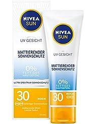NIVEA SUN UV Gesicht Mattierender Sonnenschutz LSF 30 (50ml), nicht fettende Sonnencreme für das Gesicht, Sonnenmilch mit leichter Textur