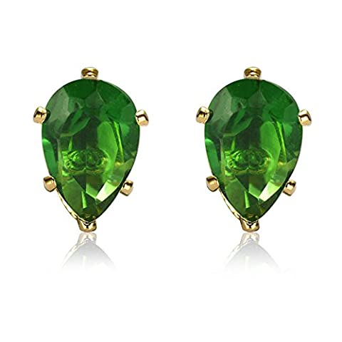 Rizilia Jewellery Pear Cut 4mm Green Emerald Color Gemstones Fine CZ 18K Yellow gold Plated Stud Earrings Simple Modern Elegance [Free Jewelry