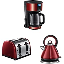 Russell Hobbs Legacy Coffee Maker, 1.25 L with 4 Slice Toaster and Kettle, 3000 W - Metallic Red