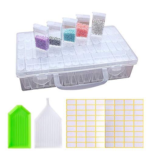 LAKIND 64 Fächer Diamant Stickerei Sortierbox in Stabiler Aufbewahrungbox Werkzeugbehälter Schmuck Organizer diamond painting box für Nägel, Strass, Perlen, DIY Handwerk (64 Fächer)