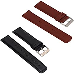 Set of 2 Replacement Leather Bands for LG LGW110 G Watch R Smartwatch (Black+Brown)
