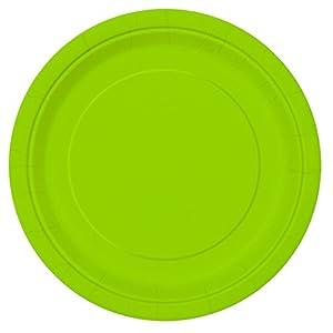 Unique Party- Paquete de 16 platos de papel, Color verde neón, 23 cm (99145)