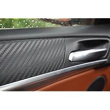 Set de 12 láminas de vinilo 3D para interior de vehículo, 100 micras de espesor (lámina para puerta, consola central, cenicero), color negro