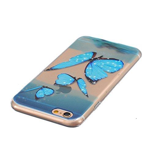 iPhone 6s Plus Hülle Durchsichtig, LuckyW TPU Handyhülle für Apple iPhone 6 plus/6s plus(5.5 zoll) Soft Silikon Tasche Transparent Schale Clear Klar Hanytasche Durchsichtig Rückschale Ultra Slim Thin  Blau Schmetterling