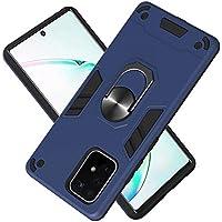 Funda para Samsung Galaxy A91 Soft TPU + Duro PC Doble Parachoques Cubierta a Anillo Soporte con Soporte y Carcasa Desmontable, Funda Protectora Serie Armadura (Azul Real)