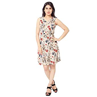 Urban Fashion Bank Floral Fit and Flare Dress (Large)