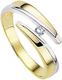 Diamond Line Damen-Ring 375er Gold 1 Diamant ca. 0,05 ct.