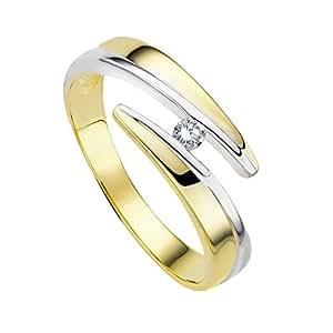 Diamond Line Damen-Diamant-Ring 375 Gelbgold teilrhodiniert 1 Diamant ca. 0,05ct. getöntes weiß Lupenrein (gW-LR)