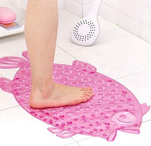 Badematte Rutschmatte Kinder Fisch Rosa | Rutschfest - Pflegeleicht | Antirutschmatte für Badewanne / Dusche