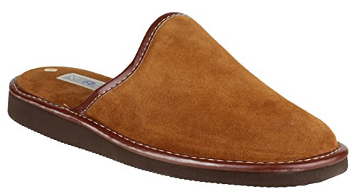 Mirak Mens Reg Suede Leather Textile Lined Mule Slipper Brown peau