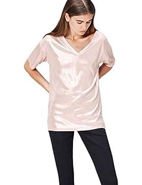 FIND Camiseta Metalizada con Escote EN 'V' Para Mujer