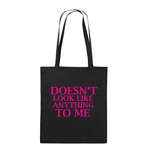 Comedy Bags - DOESN'T LOOK LIKE ANYTHING TO ME - Jutebeutel - lange Henkel - 38x42cm - Farbe: Schwarz / Silber Schwarz / Pink