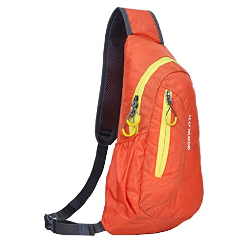 sukisuki Outdoor Travel Trekking Brust Tasche Casual Wandern Camping Fahrrad Sling Bag Tasche Orange + Yellow
