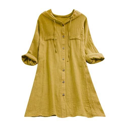 ESAILQ Frauen Stehkragen Long Sleeve beiläufige lose Tunika Tops T Shirt Bluse (XXXXL, Gelb-Z)