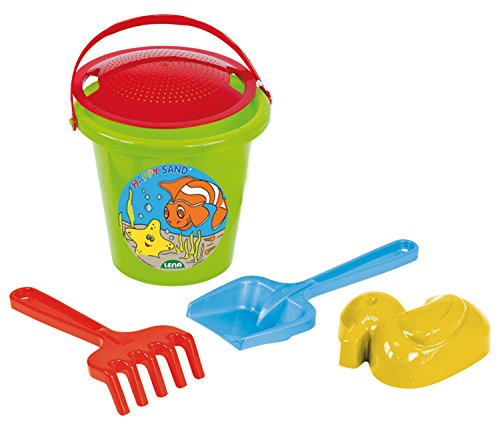 Lena 05473 - Happy Sand Spielset, Eimergarnitur 5 teilig, Sandspielzeug Set für Kinder ab 2 Jahre, Spielset mit Sandeimer, Sieb, Sandförmchen Ente, Sandschaufel und Rechen aus Kunststoff