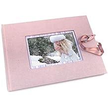 Libro de firmas rosa con marco para foto. Libro de firmas comunión
