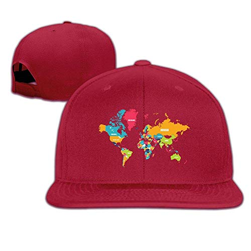 UUOnly Erwachsene Trucker Caps, Klassische Weltkarte einstellbar Hip-Hop Flat Brim Baseball Caps (Weltkarte Cap)