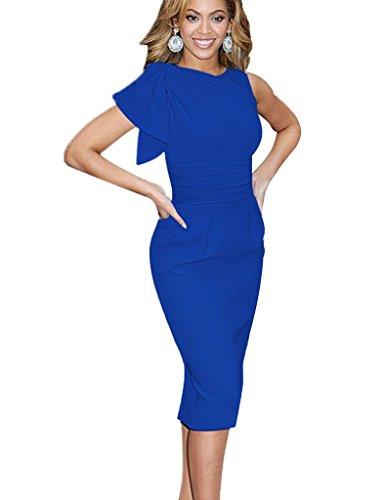 Minetom Damen Sexy Rundhals Flounced Kurzarm Sommer Business Party Cocktail Pencil Kleid Blau DE 48 -