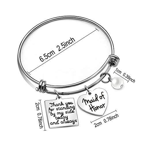 Imagen de pulsera de plata para dama de honor, con texto en inglés