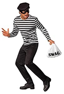 Smiffy's Bank Robber Costume with Top, Trousers, Eye Mask, Cap and Swag Bag - Medium