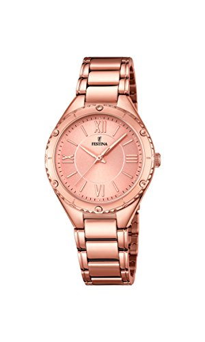 Festina BOYFRIEND Women's Quartz Watch with Rose Gold Dial Analogue Display and Rose Gold Stainless Steel Rose Gold Plated Bracelet F16922/2