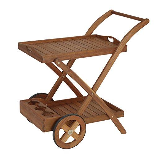 Teewagen Auf Rädern (Teewagen aus FSC® zertifiziertem Akazien Holz - idealer Beistelltisch Servierwagen mit abnehmbarem Tablett und Flaschenhalter - für Out- und Indoor)