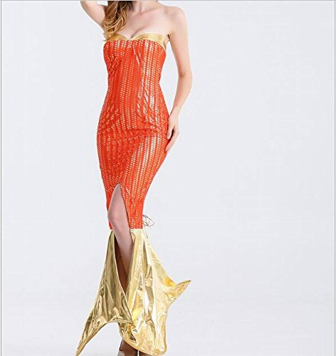 yeesn Damen Sexy Halloween Cosplay Metallic Meerjungfrau Kostüm Kleid Rock Schwanz–NEUE VERSION