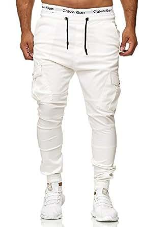 Code47 Herren Chino Jogg Jogger Jeans Slim Fit Cargo Stretch W29-W38 (W28 L32, Weiß)