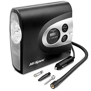 Hi-Spec 12V digitaler Luftkompressor digitalem Manometer, Abschaltautomatik, 150PSI Max. Druck und 3 Adaptern, Pumpe für Autoreifen, Bälle, Fahrräderreifen, Swimmspielzeug, Luftmatratzen...