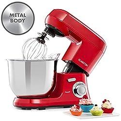 Klarstein Bella Robusta Metal - Robot culinaire multifonctions, Mélangeur planétaire, 1200 watts, 6 vitesses, Bol mélangeur de 5,5 litres, 3 accessoires, Rouge