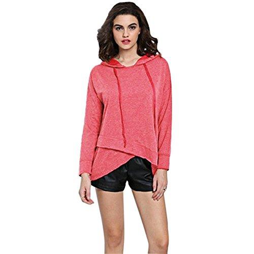 Hannea Simple Hooded Lonog Sleeve Pure Color Asymmetrical Hoodie for Ladies