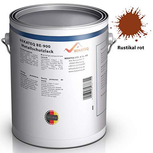 BEKATEQ BE-900 Metallschutzlack seidenmatt Rostschutz Rostschutzfarbe Korrosionsschutz Metall Farbe Schutz (1L, RUSTIKAL ROT)