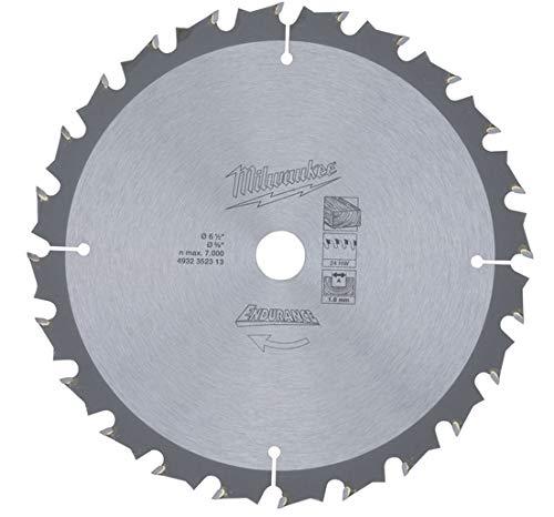 Milwaukee Endurance Kreissägeblatt, Holzbearbeitung 165mm x 15,8mm 24Zähne (Triple-chip-sägeblatt)