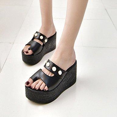 LQXZM La femme Chaussons & amp; Tong toutes les bride Printemps Été Mode chaussures Casual Robe Club Confort Talon Pearl Noir Blanc Black