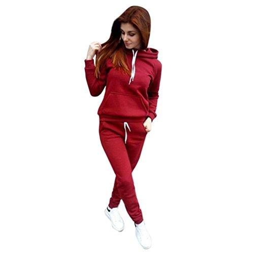 Damen Trainingsanzug Mumuj Fashion Langarm Herbst Winter Kapuzenpullover Set Mädchen Sport Fitness Hoodie Bluse Lange Hose Zweiteiler Outfit