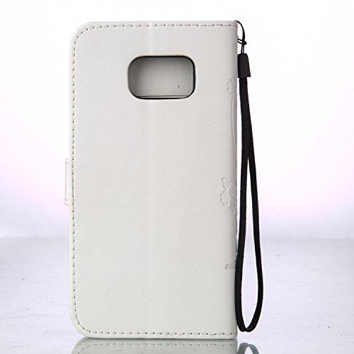 Galaxy S7 Edge Hülle,Galaxy S7 Edge Schutzhülle,Galaxy S7 Edge Case,Galaxy S7 Edge Leder Wallet Tasche Brieftasche Schutzhülle,ikasus® Prägung Klee Blumen Muster PU Lederhülle Flip Hülle im Bookstyle  Groß Schmetterling:Weiß