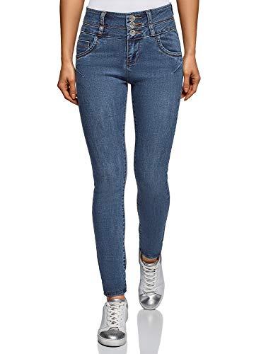 Oodji ultra donna jeans skinny a vita alta, blu, 27w / 32l (it 42 / eu 38 / s)