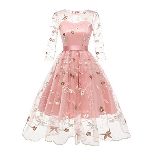 legant Vintage 50er Spitze Kleid mit Tüll Langarm Cocktail Party Rockabill Kleider Abendkleid ()