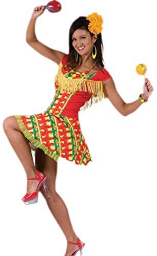 Faschingsfete Damen Mexican Lady Kostüm, Kleid, Karneval, Fasching, L, Mehrfarbig