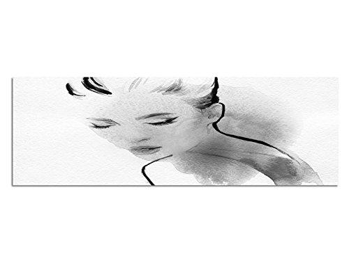 Leinwandfoto als Panorama SCHWARZ / WEISS 120x40cm Malerei Wasserfarben Frau Portrait