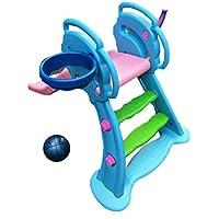 Tobogán Plegable Para Bebés, Juguetes De Plástico Para Niños Baloncesto Diapositiva Al Aire Libre Interior Área De Juegos De Jardín,Tobogán De Olas 1.31 M, Adecuado Para Bebés De 0 A 6 Años,Blue