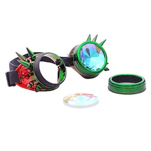 DODOING Kaleidoscope Goggles Weinlese-Art Gotische Retro Steampunk Cosplay Brille Glasses Welding Punk Brille (Grün-Rot)