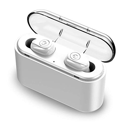 TWS Kabellose Kopfhörer Mini Wasserdicht True Bluetooth 5.0 Stereo Kopfhörer In-Ear Headset mit kabelloser Ladehülle 3.9 x 1.6 x 1.2 inches 3500Mah Double Earbuds White (Ihre Beats Earbuds)