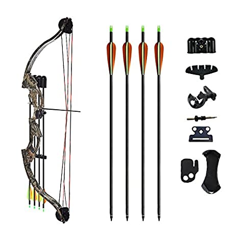 ATROPOS-118 Youth Archery Bow Set With All Accessories Black/Camo (Hunter Bow)