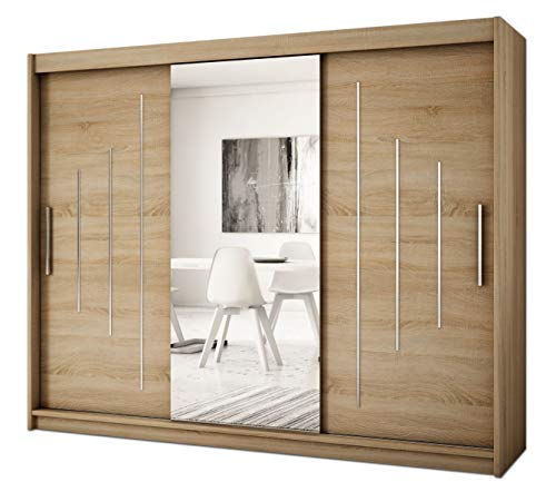 Kryspol Schwebetürenschrank York 1-250 cm mit Spiegel Kleiderschrank mit Kleiderstange und Einlegeboden Schlafzimmer- Wohnzimmerschrank Schiebetüren Modern Design (Sonoma)