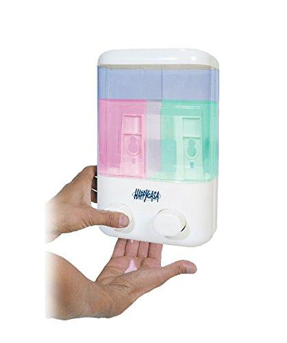Dispensador de jabón con doble compartimento y cómodo montaje en la pared 748666