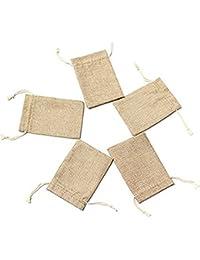 Laat Lote de 5 bolsas de lino con cordón para bisutería y joyas